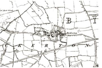 Historical map of Bickerton black and white