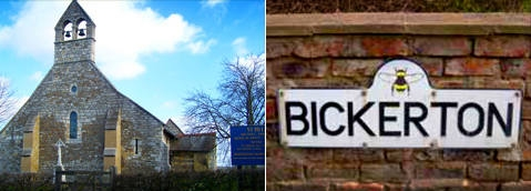 Website homepage composite image showing St Helens Church and the Bickerton Bee signpost