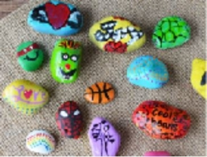 A selection of painted rocks
