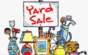 Composite yard sale image of items to display